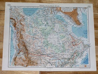 1938 Map Of Canada / British Columbia Newfoundland / Ontario / Alberta