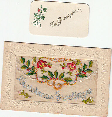 WW1 embroidered silk postcard with insert. Christmas Greetings