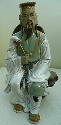 Lovely medium sized Shiwan figure of a seated warrior