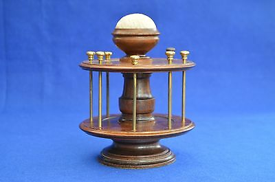 Vintage Wooden Bobbin Stand - Pin Cushion Top - Victorian Style - Sewing - Cotto