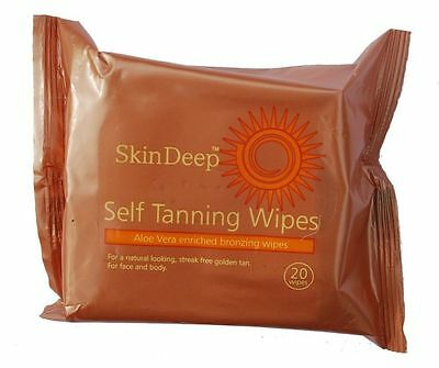 Skin Deep Self Tanning Wipes With Aloe Vera Enriched Bronzing Wipes 20S