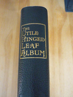 SG UTILE Stamp Album Leather bound Green covers with 50 Utile 3820 leaves Used