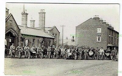 Old Postcard Motorcycle Meeting At Newport Drill Hall Isle Of Wight Real Photo