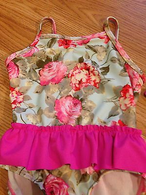 **BNWT Baby Girl Vintage Floral Print Kidson Frilly Swimming Costume 12-18 Month