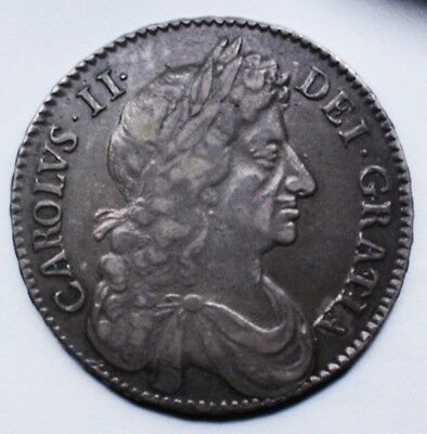 NICE 1677 Silver Halfcrown of King Charles II