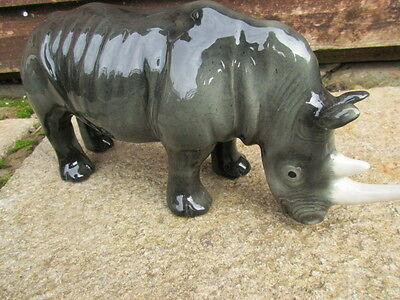 Rare Vintage Large Staffordshire Made Rhinoseros (Rhino)By Elite Pottery Perfect