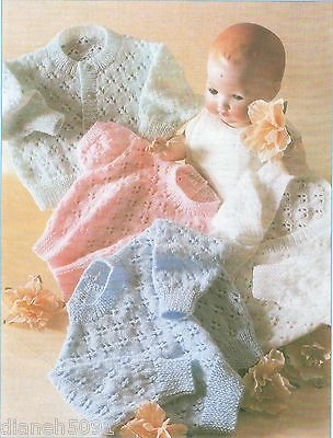 Baby Sweaters & Cardigans Knitting Pattern For  4 Styles 8 Sizes