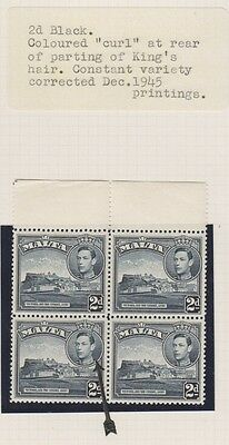 "Malta - 1938/43, 2d Black stamps - Coloured ""Curl"" at rear of parting of Kings"