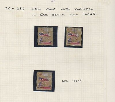 Malta - 1965/70, 4 1/2d stamps - With Variations in Sail Detail & Flags - MNH