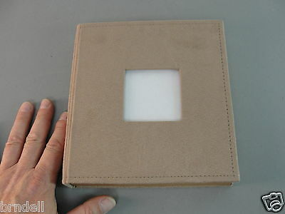 Suede Photo Album Book Rosy Tan W/cover Window 25 Pages Holds 50 4X6 Pictures