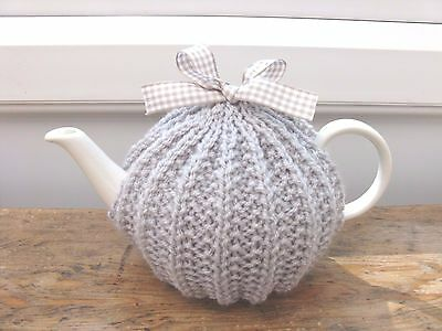 Hand Knitted Small Tea Cosy, Pale Grey, Ziggy Knits