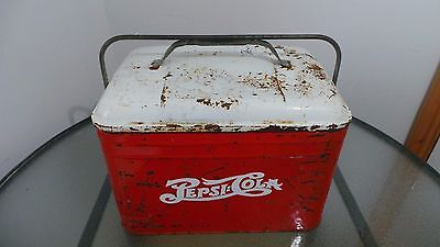 RARE Vintage Red PEPSI COLA Cooler Chest with Lid Drink Soda From 1950s