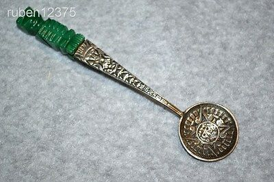 Antique Mexico Souvenir Calendar Spoon w/Jade Figure Handle, Sterling? Silver