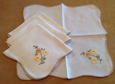 Four Vintage Small Napkins, Cotton, Very Light Beige, Flower Embroidery, Multi