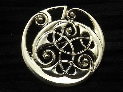 Sterling Silver Brooch by Ola Gorie  LARGE KELLS BROOCH celtic design Scottish