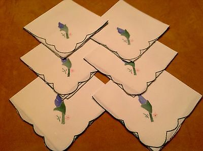 Six Dinner Napkins, Cotton, White With Blue, Green Flower Appliqué