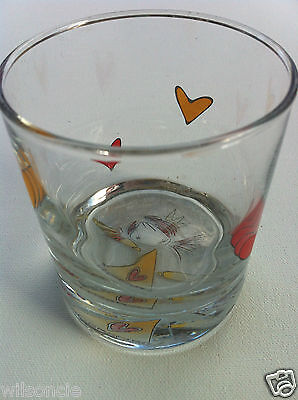 Handmade Hand Painted by Ketto Design Red & Yellow Hearts Angel Princess Glass