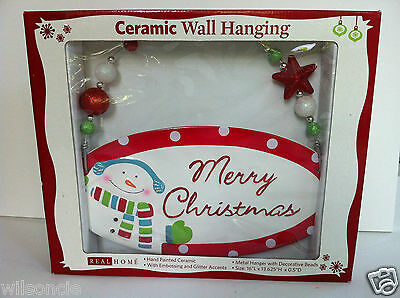 Hand Painted Merry Christmas Ceramic Wall Hanging Embossing & Glitter Accents