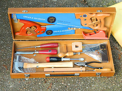 Spear & Jackson Wooden Box With Assorted Woodworking Tools