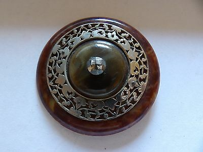 Huge art nouveau style faux tortoiseshell filigree floral belt buckle  WL52-23