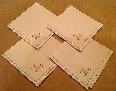 Four Vintage Napkins, Light Beige Cotton Blend, Pink, Green Flower Embroidery