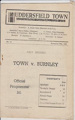 HUDDERSFIELD TOWN v BURNLEY 49-50 LEAGUE MATCH