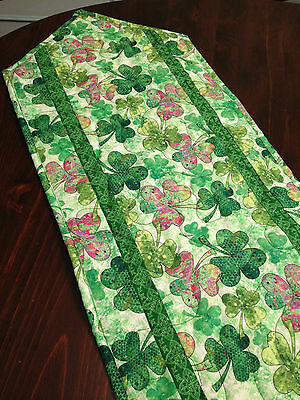 Handcrafted-Quilted Table Runner-St. Patrick's Day - Shamrocks in Green & Multi