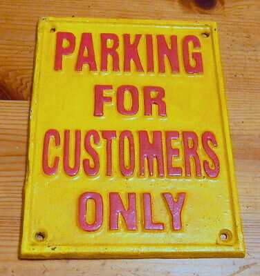 Superb Heavy Cast Iron Sign Parking For Customers Only