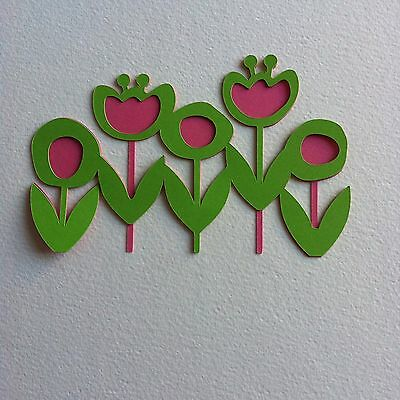 6 X Large Rows Of Flowers-Spring Easter Floral Tulips-Layered-Cerise/apple Green