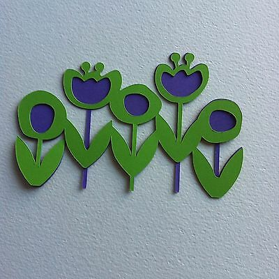 6 X Large Rows Of Flowers-Spring Easter Floral Tulips-Layered-Lilac/apple Green
