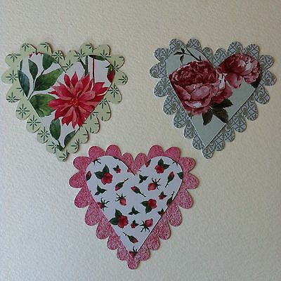9 X Shabby Chic Layered Heart Die Cut Shapes-Floral Love Wedding Romance