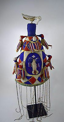 A Fine Yoruba Beaded Crown with Avian images,Red, White & Blue African Art
