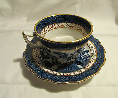1 Only Beautiful Vintage 'real Old Willow' Booth's Bone China Tea Cup And Saucer