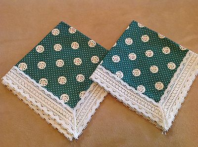 Two Vintage Small Napkins, Green And Light Beige Calico, Light Beige Lace Edge
