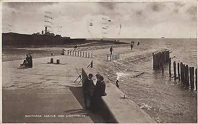 Postcard - Southsea - Castle and Lighthouse