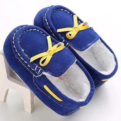 Baby Toddler Crib Shoes Infant Boys Girls Shoes Soft Warm Fleece Moccasin &11+