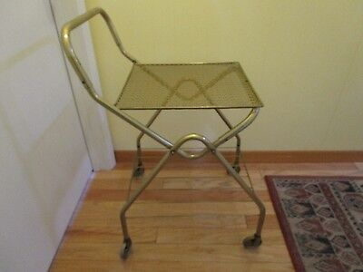 "ATOMIC metal Mesh Bar Tea Cart 2-Tier tray rolling gold tone 20.5"" W. VINTAGE"