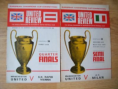 1969 European Qrt Final & Semi Final,man Utd V Rapid Vienna/ac Milan