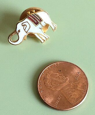 Vintage ELEPHANT LAPEL PIN Or PINBACK / TIE TACK ~ WHITE & RED ~ FREE SHIPPING!