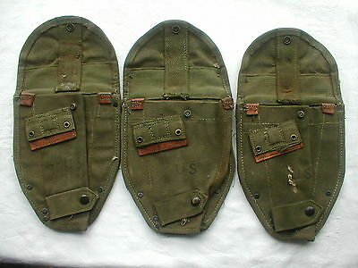 3 x Vietnam Era US Army M1956 Entrenching Tool Shovel Canvas Carrier Cover 1960s