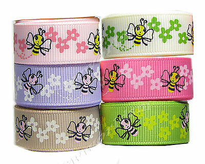 "6y 25mm 1"" Mixed Bee Grosgrain Ribbon Card Making Gift Eco Premium FREE PP"
