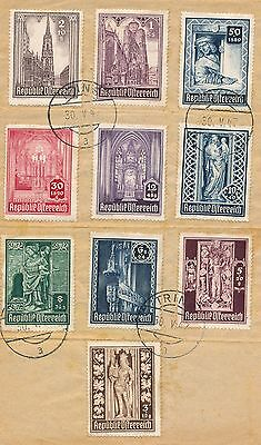 """Austria 1947, Mess Complete Set On Paper Cancelled """" Trins 30 /5/1947 """" #a2582"""