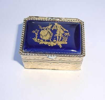 New Small Rectangulat Pill Box of gold-tone metal with Blue Enamelled Lid