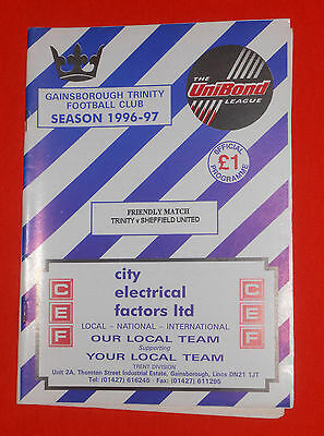 Gainsborough Trinity v Sheffield United, Friendly  2nd August 1996