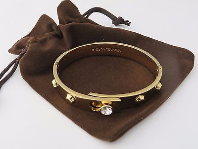 Michael Kors Gold Tone Plated Stud Bangle With A Crystal Genuine