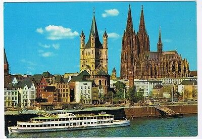 Germany Postcard Cologne Cathedral Great St Martins Boat Cruise Ship Old Town