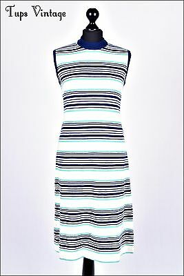 VINTAGE 70s RETRO STRIPE KNIT SHIFT DRESS NAVY MINT GREEN 12