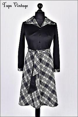 VINTAGE 60s BLACK CHECK POINTED COLLAR BELTED MOD DRESS MADMEN 12