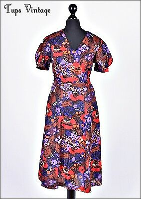 VINTAGE 60s WINTER FLORAL POPPY PRINT RETRO 1950'S DRESS 10