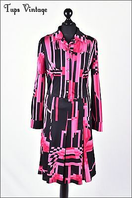 VINTAGE 60s HOT PINK ART DECO GEOMETRIC RETRO MOD DRESS SCOOTER 12
